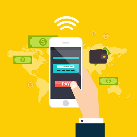 phone button: Online and mobile payments concept. Human hand finger pressing pay button on a phone with running payment app.