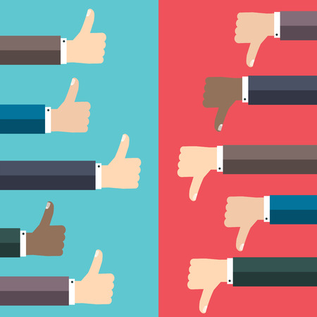good and bad: Like and dislike concept. Thumbs up and thumbs down hand sign. Communication and network, web and internet. Illustration