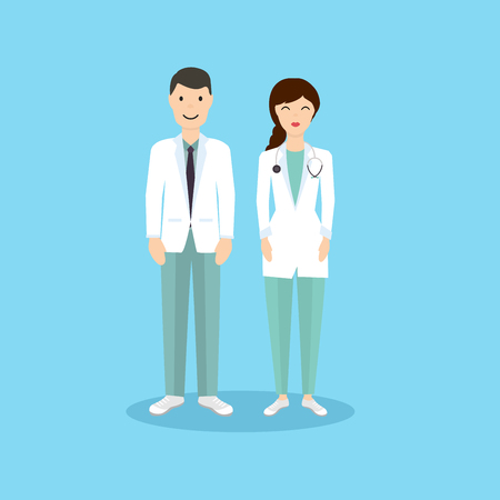 men: Male and Female Doctor occupation character in flat design.