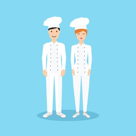 female chef: Male and Female chef in flat design. Illustration