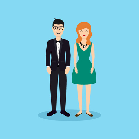dress: Business people - man and woman - dressed in suits in flat design.