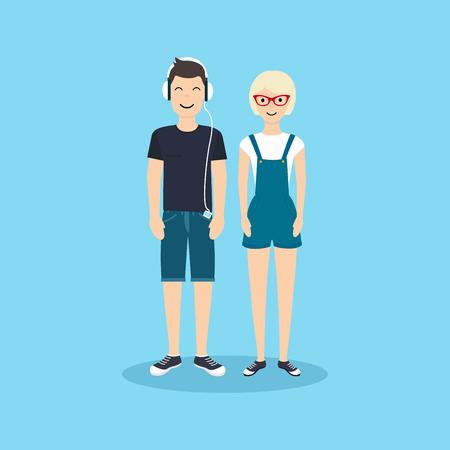 L'uomo e la donna in abbigliamento casual. illustrazione nel design piatto.