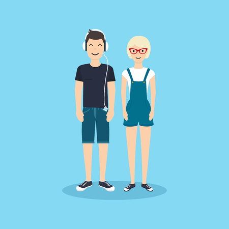 vs: Man and woman in casual clothing. illustration in flat design.