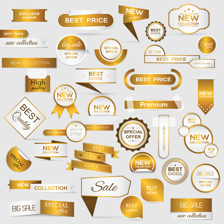 sale tags: Collection of golden premium promo sealsstickers. isolated illustration Illustration