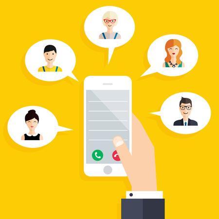 Mobile connection infographics element. Social Network Concept. Hand holding smart phone. Flat design style modern illustration concept. Ilustração