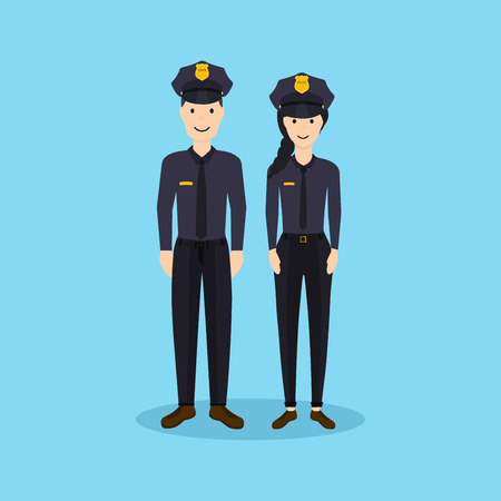 Male and Female police officers in flat design. Vettoriali