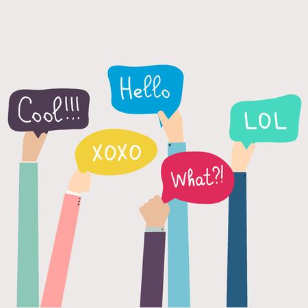 social communication: Hands Holding Speech Bubbles with Social Media Words. Vector illustration.