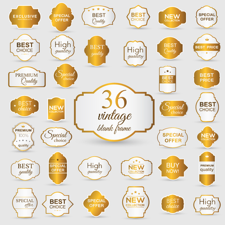 gold seal: Collection of golden premium promo sealsstickers. isolated vector illustration Illustration