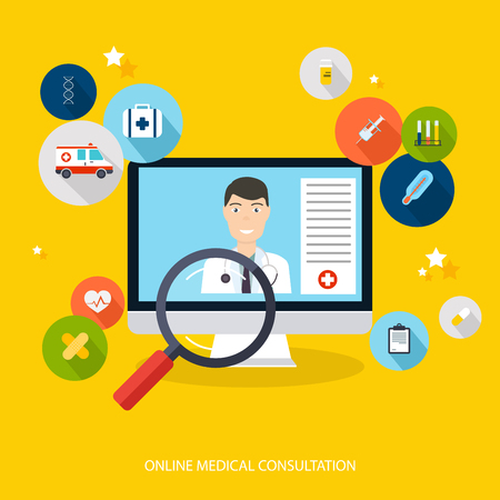 Online medical consultation concept. Vector modern creative flat design on computer with medical assistance and doctor. Vector illustration.