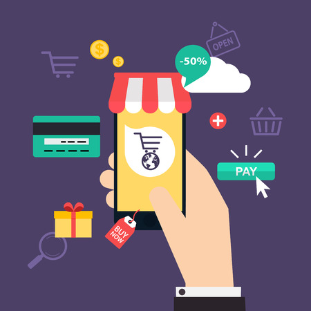 shopping bag icon: Concept online shopping and e-commerce. Icons for mobile marketing. Hand holding smart phone.  Flat design style modern vector illustration concept.