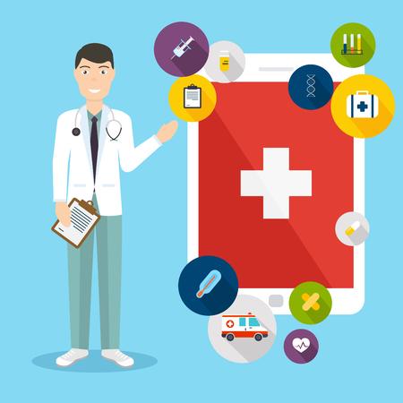 consulta médica: Concepto en línea de consulta médica. Vector diseño plano creativo moderno, con asistencia médica y médico. Ilustración del vector. Vectores