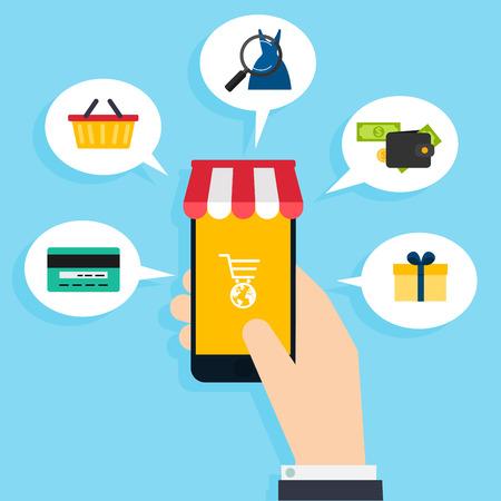 Concept online winkelen en e-commerce. Pictogrammen voor mobiele marketing. Hand met slimme telefoon. Platte ontwerp stijl moderne vector illustratie concept.