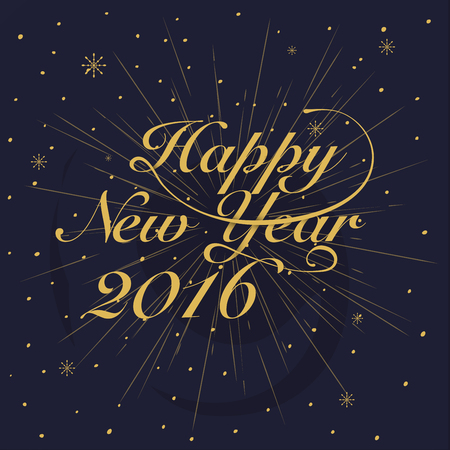 shine background: New year 2016 Greeting Card. Typography postcard template. Vector illustration.