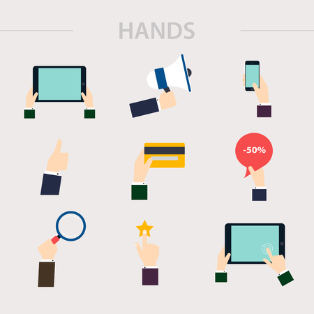 using smart phone: Flat design of hand icons set. Concept of hand in many characters: presenting, showing, using tablet and smart phone, writing, thumb up and down, hand holds magnifying glass and credit card. Vector illustration. Illustration