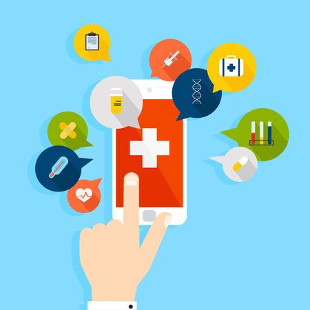 hälsovård: Mobiltelefon med hälso programmet öppet med handen. Vector modern kreativ platt design. Vektor illustration.