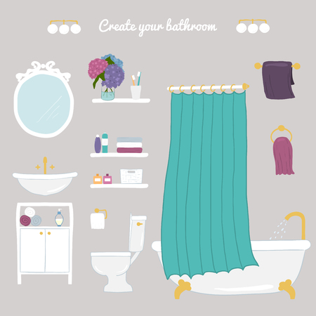 personal hygiene: Create your bathroom. Set of vector bathroom and personal hygiene icons. Hand-drawn Vector illustration.