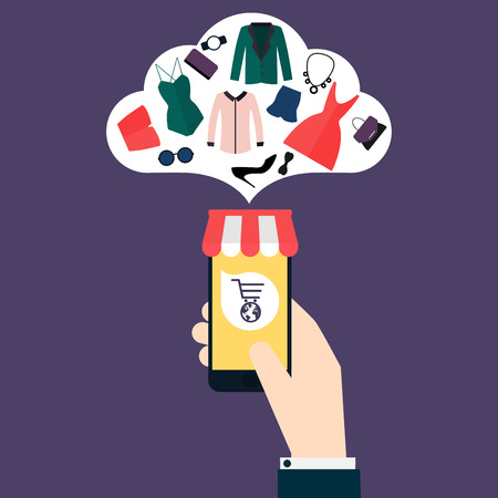 phone icon: Concept online shopping and e-commerce. Icons for mobile marketing. Hand holding smart phone.  Flat design style modern vector illustration concept.