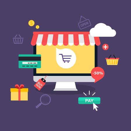 E-commerce, commercio elettronico, lo shopping online, pagamento, consegna, processo di spedizione, le vendite. concetto infografica vettore.