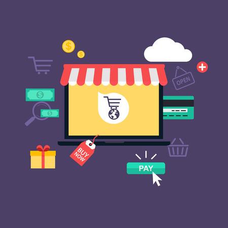 概念のオンライン ショッピング、e コマース。モバイル マーケティングのためのアイコン。手持ち株のスマート フォン。 フラットなデザイン スタ