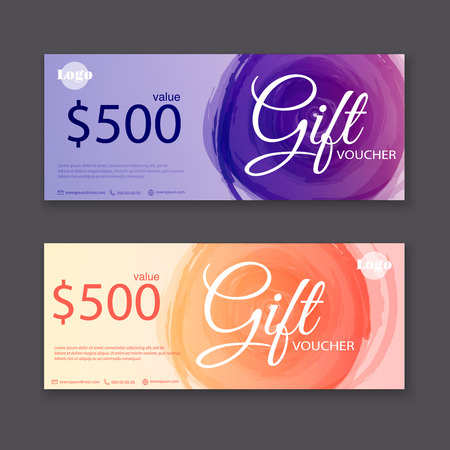 financial success: Gift voucher template with watercolor, Gift certificate. Background design gift coupon, voucher, certificate, invitation, currency. Collection gift certificate. Vector illustration.