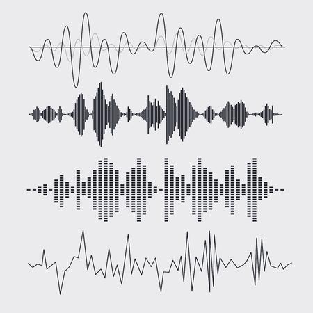 Vector geluidsgolven instellen. Muziek. Vector illustratie.