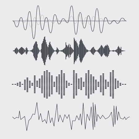 sonic: Vector sound waves set. Music. Vector illustration.