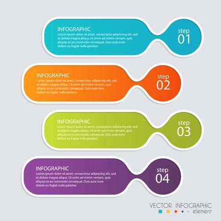 비즈니스 프리젠 테이션을위한 벡터 다채로운 정보를 그래픽. 정보 그래픽, 그래픽 또는 웹 사이트 레이아웃 벡터, 번호 배너,도, 수평 컷 아웃 라인,
