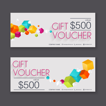 Gift Voucher Template With Colorful Pattern Gift Certificate