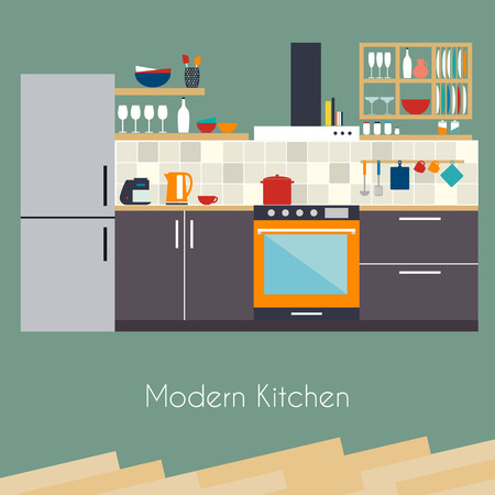 Kitchen interior. Flat design kitchen concept.  Kitchen equipment background. Vector illustration. Illustration