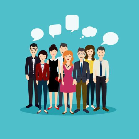 Les gens d'affaires et le travail d'équipe d'affaires. Réseau social et Social Media Concept. Affaires plat illustration vectorielle. Vecteurs
