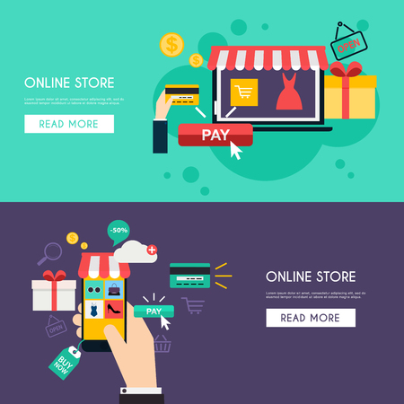 marketing concept: Concept online shopping and e-commerce. Icons for mobile marketing. Hand holding smart phone. Flat color horizontal banner set. Flat design style modern vector illustration concept. Illustration