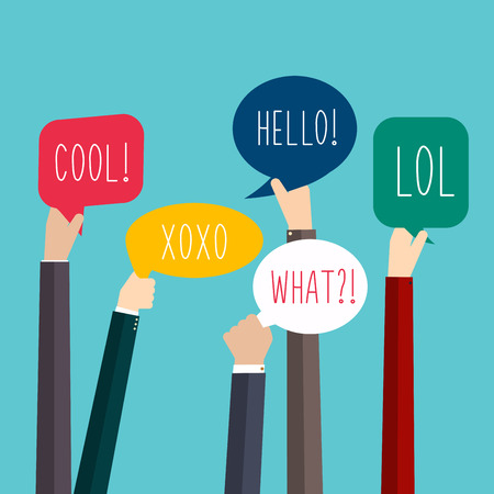 speech marks: Concept of teamwork and integration with businessman holding colorful Speech Bubbles. Hands Holding Speech Bubbles with Social Media Words. Vector illustration. Illustration