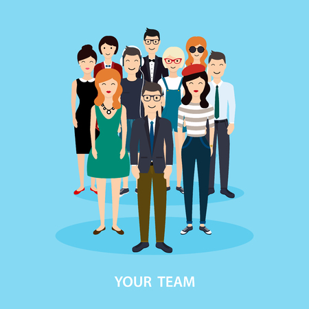 unisex: Business Team. Teamwork. Social Network and Social Media Concept. Business flat vector illustration.