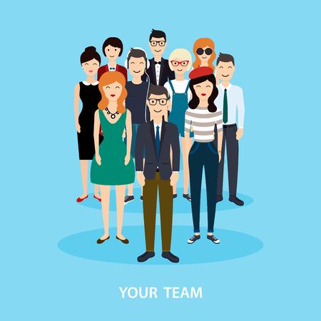 Equipo de negocios. Trabajo en equipo. Red social y el concepto de medios de comunicación social. ilustración vectorial plana negocio.