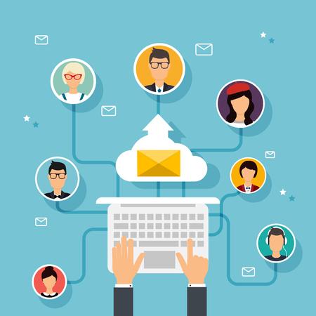 Prowadzenie kampanii reklamowych e-mail marketing bezpośredni cyfrowy. E-mail marketing. Zestaw ludzi awatarów i ikony. Płaski design w stylu nowoczesnym ilustracji wektorowych koncepcji.