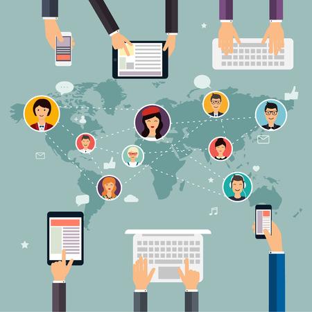 red social y el concepto de trabajo en equipo para la web y la información gráfica. Conjunto de personas avatares e iconos. Tomados de la mano y que usan el ordenador, tableta, ordenador portátil, teléfono inteligente. Sistemas de comunicación y tecnologías.