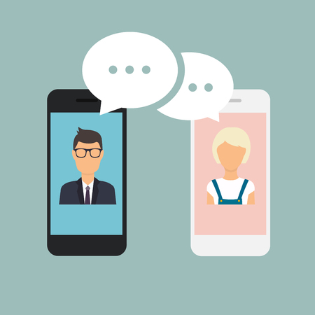 chat: Online chat man and woman. Couple chat on a cell phone. Cartoon man and woman. Flat vector design.