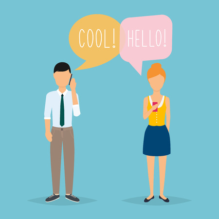 woman on cell phone: Online chat man and woman. Couple chat on a cell phone. Cartoon man and woman. Flat vector design.