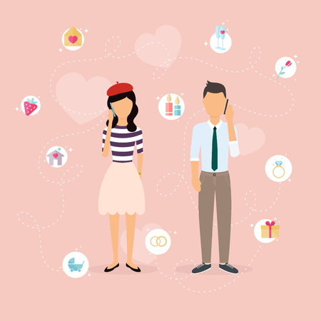 talking phone: Couple talking on a cell phone. Cartoon man and woman in love. Set of love, romantic and family icons.Romantic communication of people in love. Flat vector design.