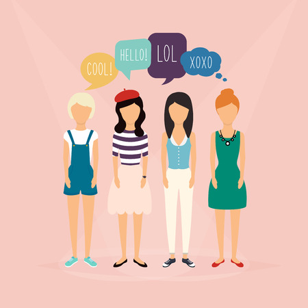 communicate concept: Four girls communicate. Speech Bubbles with Social Media Words. Vector illustration of a communication concept, relating to feedback, reviews and discussion.