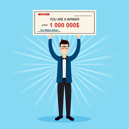 million: Happy man holding large check of one million dollar in hands. Colorful Vector Illustration.