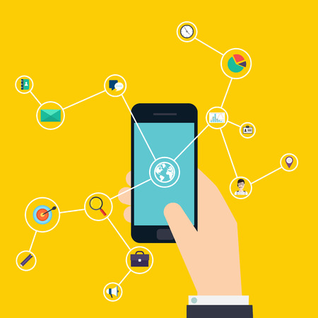 control system: Internet of Things concept. Business icons. Hand holding a smartphone, revealing a net of wireless controlled devices. Business Control by smartphone. Vector flat illustration.