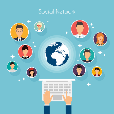 communicatio: Social Network Vector Concept. Flat Design Illustration for Web Sites Infographic Design with human hand with laptop avatars. Set of people avatars and icons. Communication Systems and Technologies. Illustration