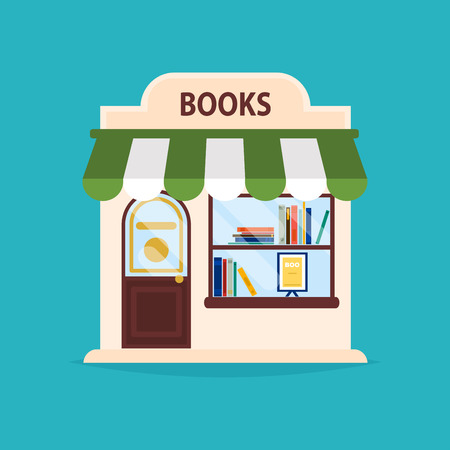 Books shop facade. Vector illustration of books shop building. Ideal for books shop business web publications and graphic design.