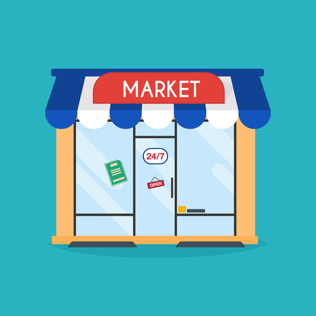 comercial: Market shop facade. Vector illustration of market building. Ideal for market business web publications and graphic design.