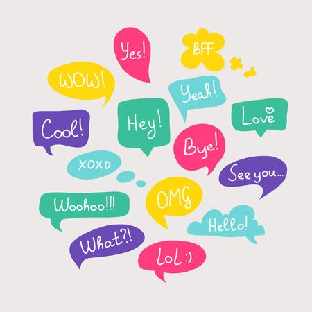 burbuja: Preguntas colorida del discurso burbujas conjunto en diseño plano con mensajes cortos.