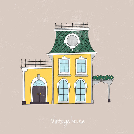 victorian house: Hand drawn vintage homes. Vector illustration. Illustration