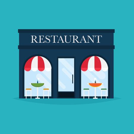 Fachada: Ilustración del vector del edificio del restaurante. iconos fachada. Ideal para publicaciones web restaurante de negocios y diseño gráfico.