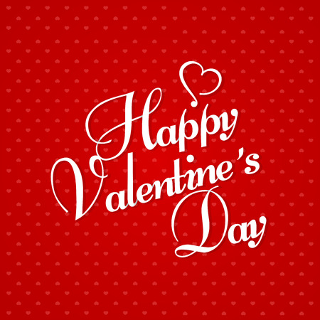 Happy Valentine's Day Greeting Card on red background. Vector illustration.