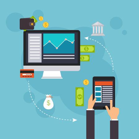 Platte ontwerp vector illustratie concepten van online betaalmethodes. Internet bankieren, online aankopen en transacties, elektronische betalingsverkeer en overschrijving.